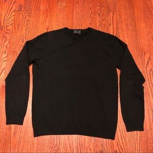 H&M Men's Black Merino Wool V-Neck Sweater